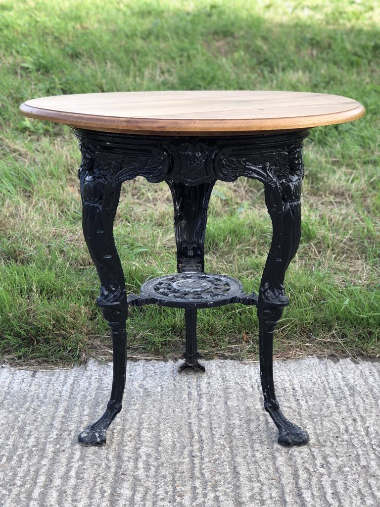 Vintage Wrought Iron Table With Oak Top - Okehurst Design